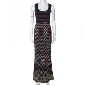 M Missoni Dark Purple Chevron Knit Sleeveless Maxi Dress S