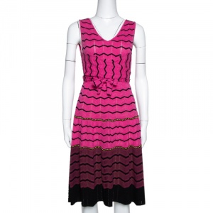M Missoni Pink Zig Zag Knit Tie Front Detail Dress S