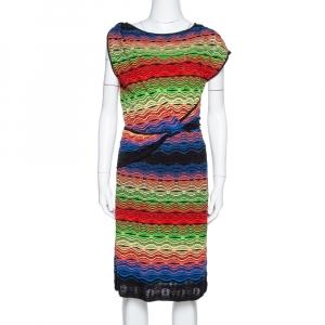 M Missoni Multicolor Wavy Linen Blend Knit Sleeveless Dress M - used