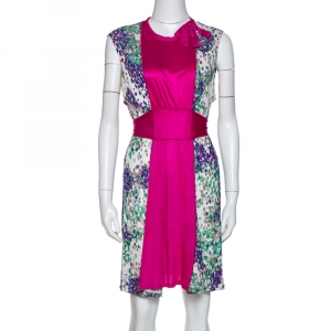M Missoni Magenta Printed Jersey Tie Back Sleeveless Dress L - used