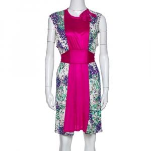 M Missoni Magenta Printed Jersey Tie Back Sleeveless Dress L - used