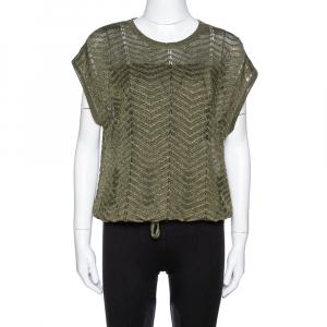 M Missoni Green Lurex Knit Hem Tie Detail Sleeveless Top S - used