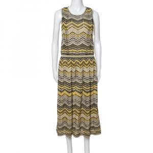 M Missoni Pale Yellow Lurex Chevron Knit Sleeveless Dress M