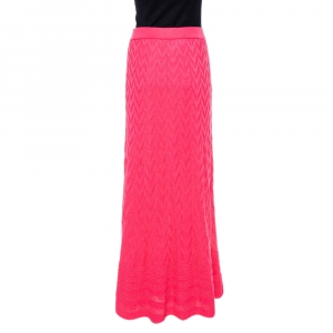 M Missoni Pink Zig Zag Knit Maxi Skirt M