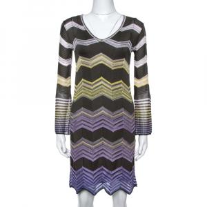 M Missoni Grey & Purple Chevron Crochet Knit Long Sleeve Dress S
