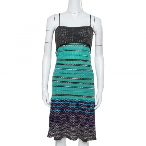M Missoni Green Textured Merino Wool Knit Noodle Strap Dress M