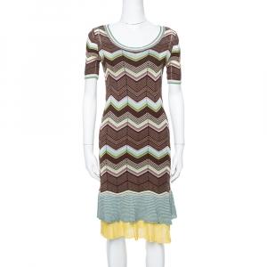 M Missoni Multicolor Cotton Knit Scoop Neck Skater Dress M used