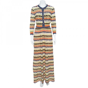 M Missoni Multicolor Pointelle Knit Maxi Tie-Up Dress and Cardigan Set