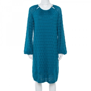 M Missoni Teal Wool Knit Midi Dress L
