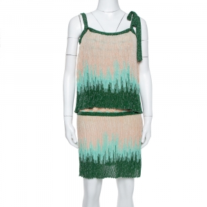 M Missoni Beige & Green Lurex Knit Overlay Detail Short Dress S - used