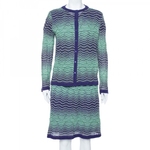 M Missoni Bicolor Wave Knit Drop Waist Dress & Button Front Cardigan Set L