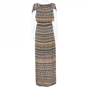M Missoni Multicolor Lurex Knit Open Back Maxi Dress L