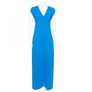 M Missoni Blue Perforated Knit Sleeveless Maxi Dress M - used
