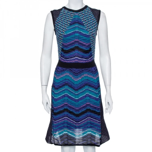 M Missoni Blue Patterned Knit Paneled Short Dress M