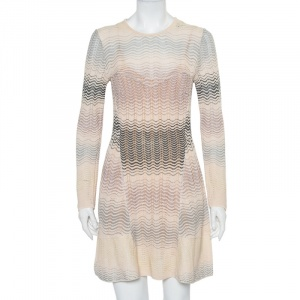 M Missoni Beige Patterned Knit Paneled Mini Dress L