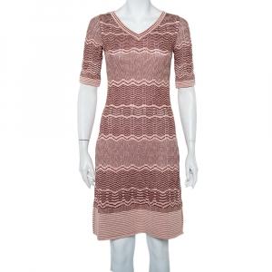 M Missoni Pink Patterned Lurex Knit Mini Dress M