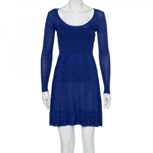 M Missoni Blue Patterned Knit Scoop Neck Skater Dress S - used