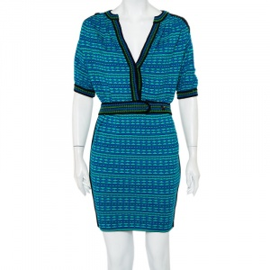 M Missoni Blue and Green Patterned Knit Belted Tunic Dress S - used