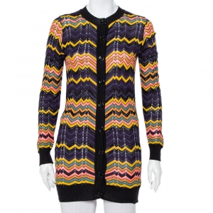 M Missoni Multicolor Chevron Patterned Perforated Knit Long Cardigan S