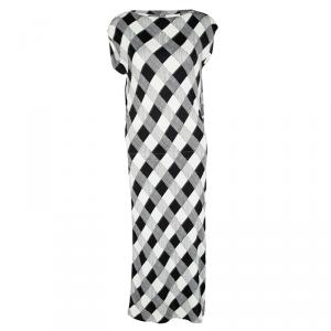 Maison Martin Margiela Monochrome Checked Draped Back Detail Dress M