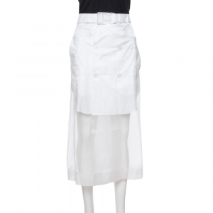 Maison Martin Margiela White Sheer Paneled Skirt L