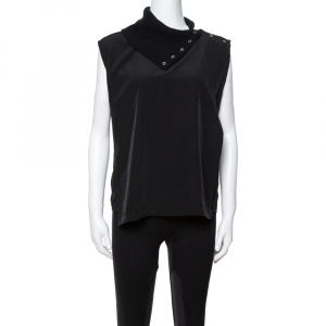 MM6 Maison Martin Margiela Black Mock Neck Sleeveless Top S