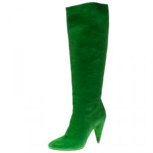 Maison Martin Margiela Parakeet Green Textured Suede Knee Length Cone Heel Boots Size 38