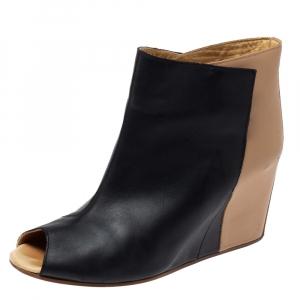 Maison Martin Margiela Black/Beige Leather Peep Toe Ankle Boots Size 39 - used