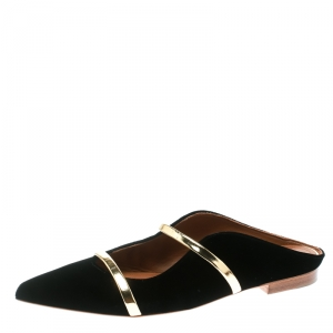 Malone Souliers Black Velvet Maureen Pointed Toe Flats Size 39