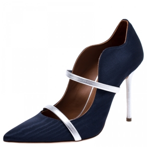 Malone Souliers Navy Blue Moire Fabric Maureen Pointed Toe Mules Size 37.5