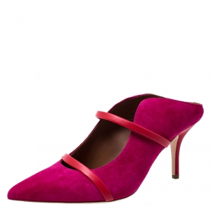 Malone Souliers Pink/Red Suede And Leather Maureen Pointed Toe Mules Size 37.5