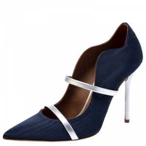 Malone Souliers Blue Moire Fabric Maureen Pointed Toe Pumps Size 38.5