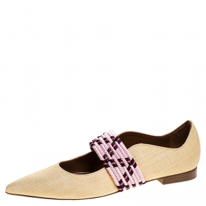 Malone Souliers Beige Raffia And Braided Elastic Martina Luwolt Pointed Toe Ballet Flats Size 37
