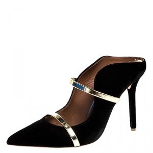 Malone Souliers Black Velvet Maureen Mule Size 38