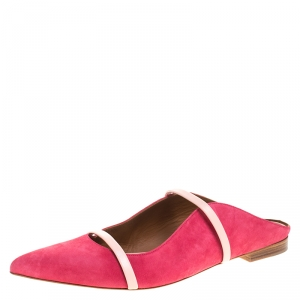 Malone Souliers Pink Suede Maureen Pointed Toe Mules Size 42