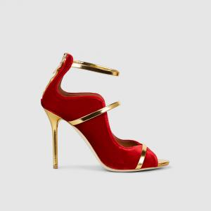 Malone Souliers Red Mika Velvet Sandals Size IT 39