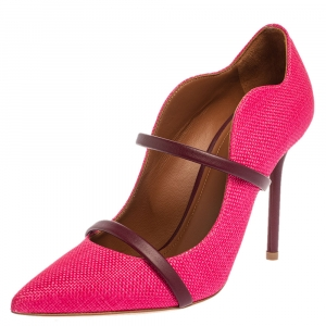 Malone Souliers Pink Raffia Maureen Pointed Toe Pumps Size 35
