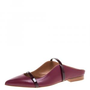 Malone Souliers Burgundy Leather and Patent Leather Trim Maureen Pointed Toe Flats Size 35