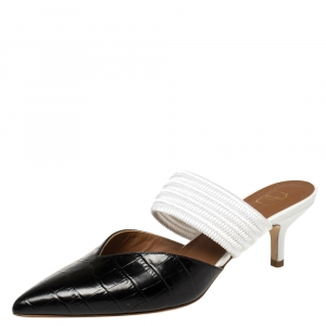 Malone Souliers Black/White Croc Embossed Leather and Cord Maisie Pointed Toe Mules Size 36