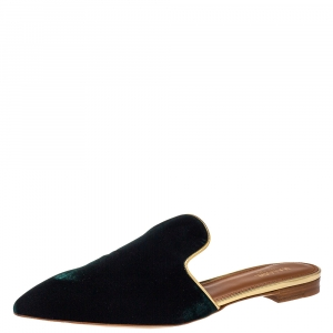 Malone Souliers Dark Green Velvet Pointed Toe Mule Flats Size 40