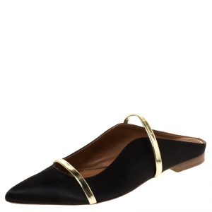 Malone Souliers Black/Gold Satin Maureen Pointed Toe Flats Size 39.5