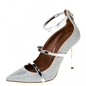Malone Souliers Silver Glitter Fabric and Patent Leather Robyn Ankle Strap Pumps Size 36