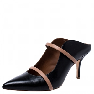 Malone Souliers Black Leather Maureen Pointed Toe Mules Size 37