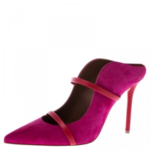 Malone Souliers Pink Suede And Red Leather Trim Maureen Pointed Toe Mules Size 40