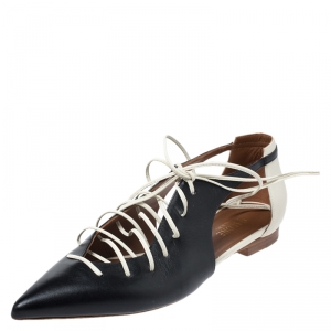 Malone Souliers Monochrome Leather Montana Lace Up Pointed Toe Flats Size 39