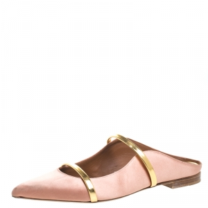Malone Souliers Beige Satin Maureen Pointed Toe Flats Size 39