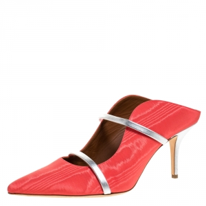 Malone Souliers Coral Orange/Silver Canvas And Leather Maureen Pointed Toe Mules Size 42