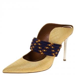Malone Souliers Gold Woven Raffia Mara Mule Sandals Size 37