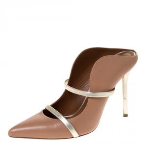 Malone Souliers Beige Leather Maureen Mule Sandals Size 39.5