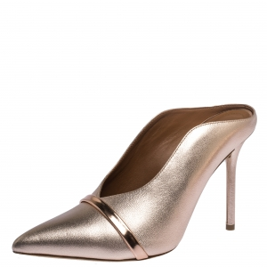 Malone Souliers Metallic Peach Leather Constance Mules Size 36.5